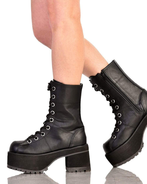 Demonia Let's Stomp Hiker Boots-Side