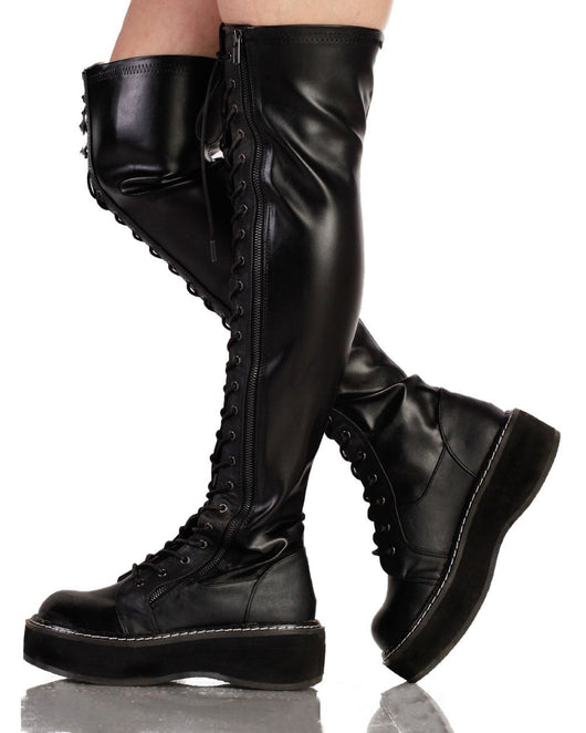 Womens Shoes Demonia Thigh High Lace Up Boots-Black-side2