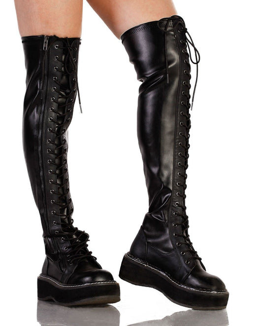 Womens Shoes Demonia Thigh High Lace Up Boots-Black-side