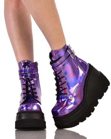5c26e40a7731f ... Womens Shoes IHR X Demonia Purple Holo Rise Up Platform Boots-front