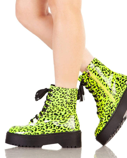 Meow Leopard Combat Boots-Side