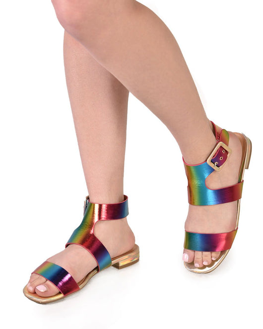 Womens Shoes Rainbow Day Holographic Sandals-Rainbow-Front2