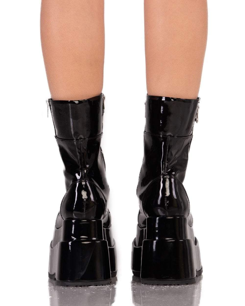 Womens Shoes She s No Angel-Black-Patent Boots Back