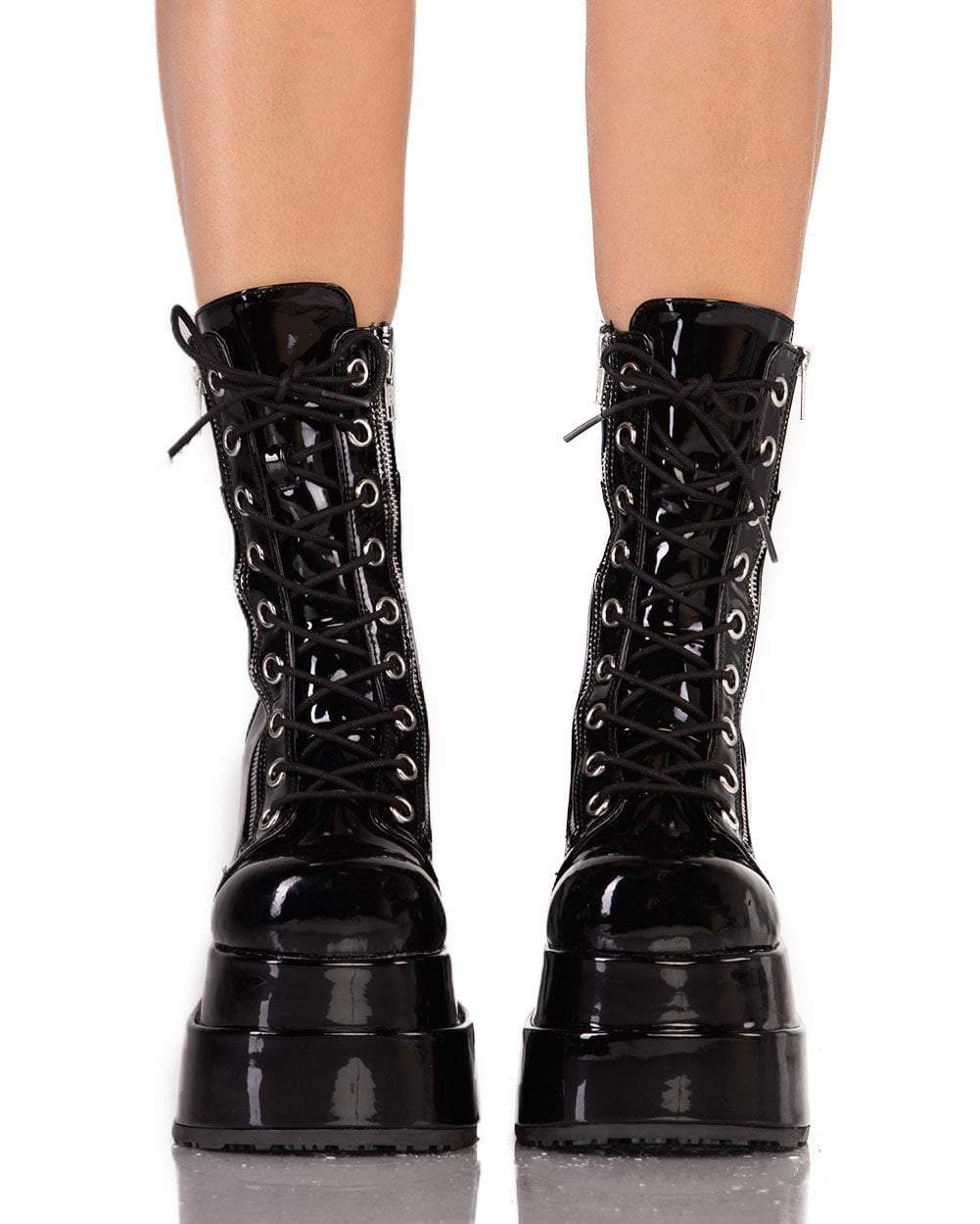Womens Shoes She s No Angel-Black-Patent Boots Front