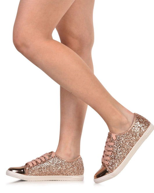 Womens Shoes Shinin  All the Time Glitter Sneakers-Rose Gold-Side