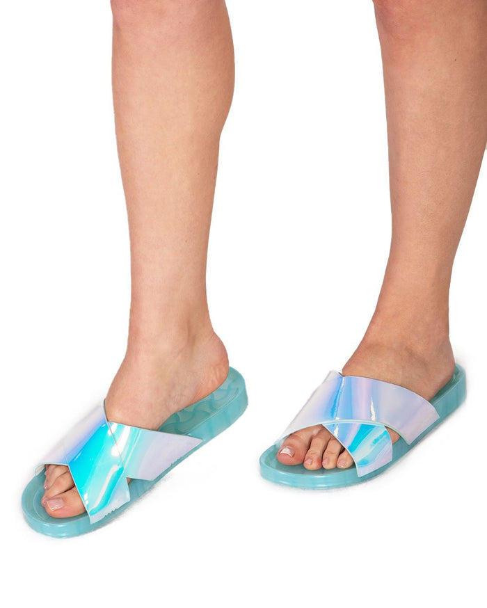 Womens Shoes Superstar Holo Slides-Turquoise-Top