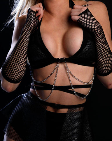 Lyte Couture Dark Starr Fishnet Chain Cage Top