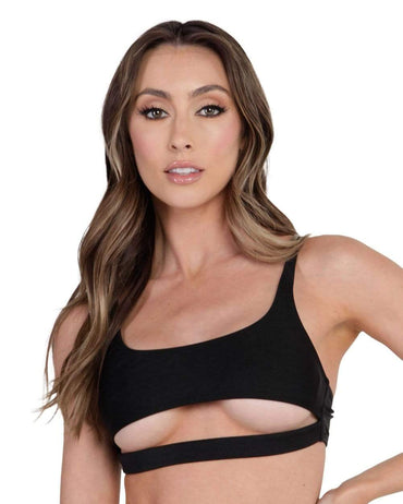 Malibu BB Cutout Crop Top-Black-Front--Hannah---S