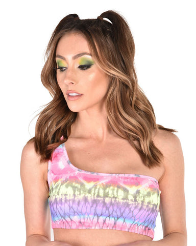 Sunset Palms One Shoulder Crop Top-Pink/Purple/Yellow-Front