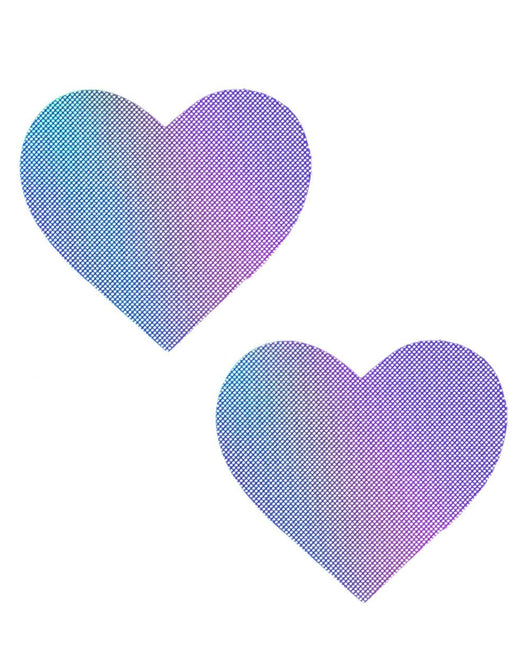 Neva Nude Lustful Lilac Hologram Heart Pasties-Purple