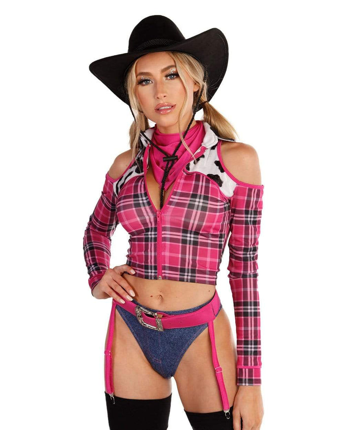iHeartRaves Exclusive Ride 'Em Cowgirl Costume-Neon Pink-Front--Liberty---S-M
