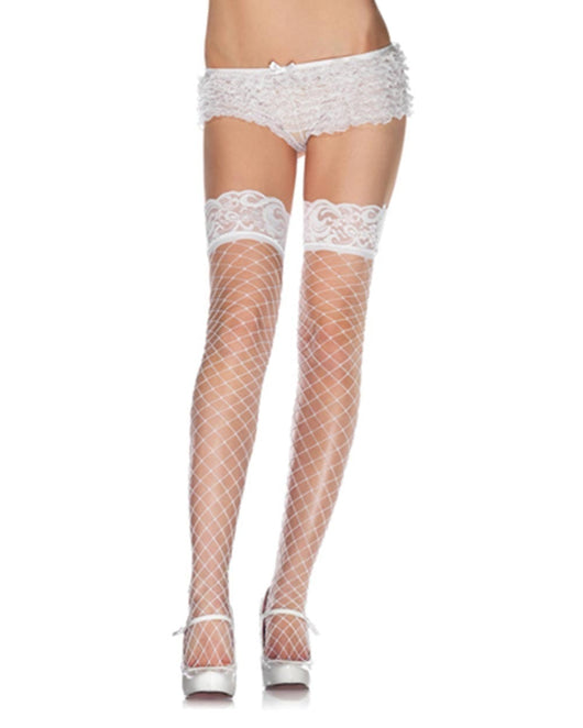 Lace Fence Net Thigh Highs Stockings-White