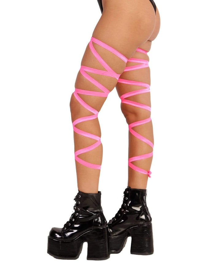 Pair of Non-Slip Neon Pink Leg Wraps-Side