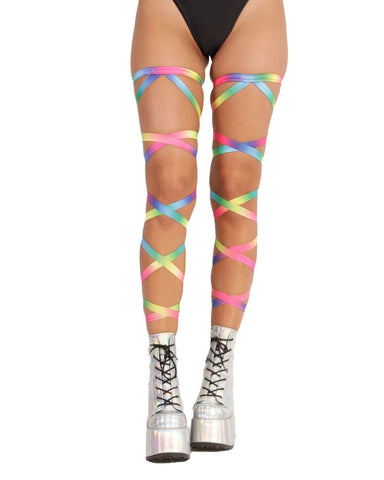 Pair of Non-Slip Rainbow Leg Wraps