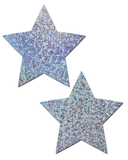 Pastease Glitter Hologram Star Pasties-Silver