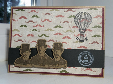 greeting card - moustaches and hot air balloon
