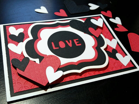 love greeting card - die cut hearts