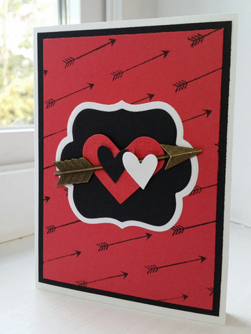 love greeting card - arrows & hearts