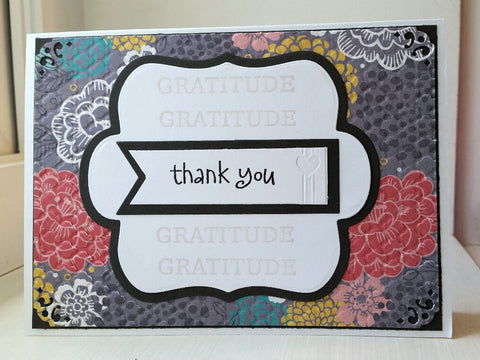 thank you greeting card - grey floral