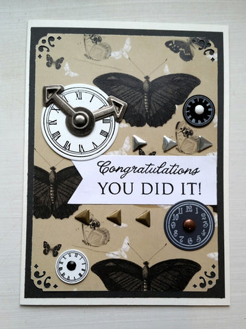 greeting card - butterflies and clocks