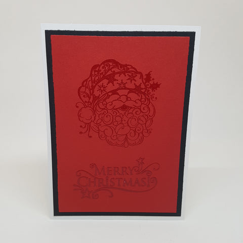 Christmas greeting card set - red embossed Santa