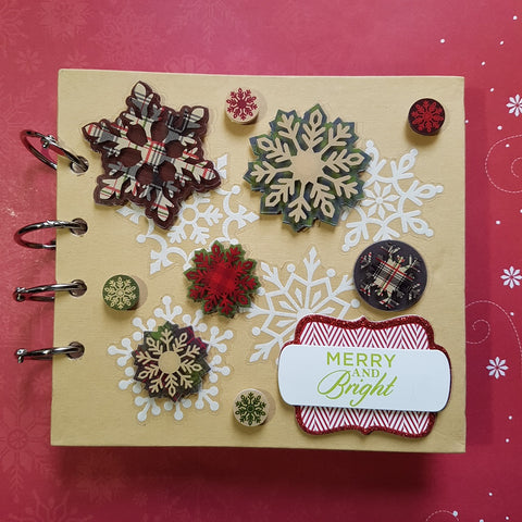 handmade Christmas album 4x4 chipboard cover, plaid, snowflakes