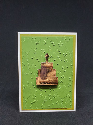 birthday card - gold cake