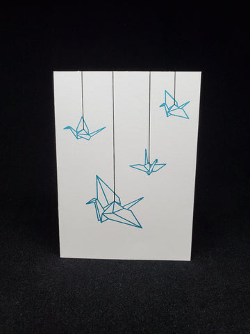 greeting card - hanging paper cranes