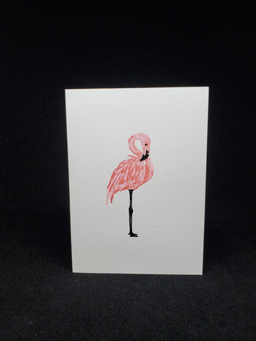 greeting card - sparkly flamingo