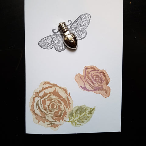 greeting card - moth and roses