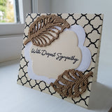 sympathy card - burlap leaves