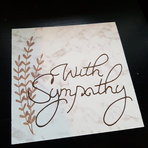 sympathy card - marble leaves