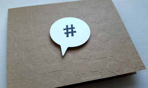 greeting card - hashtag & speech bubbles