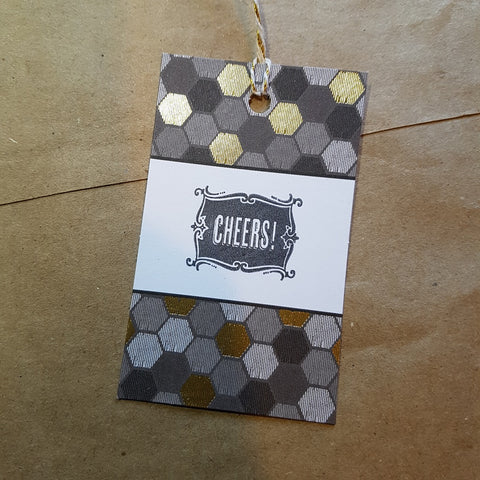 handmade Christmas gift tag gold grey hexagons stamped Cheers