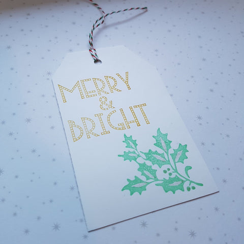 Christmas gift tags - merry & bright holly