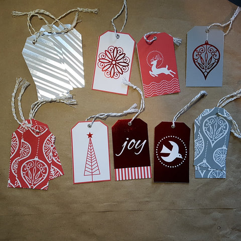 Christmas gift tags (set of 18) - red foil