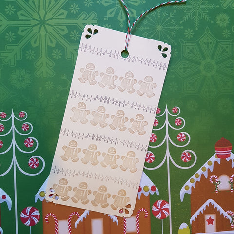 handmade stamped Christmas gift tag gingerbread men strings of lights