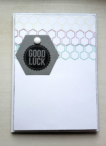 good luck card - hexagon stripes