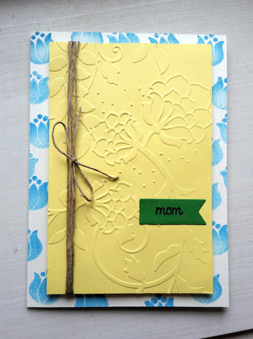 Mother's Day card - blue and yellow flowers