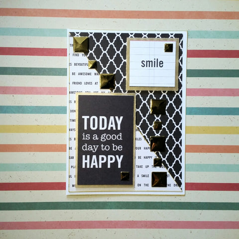 black white gold smile greeting card