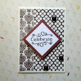 celebrate greeting card - elegant brown and white
