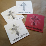 Christmas greeting card set - Season's Greetings with cross