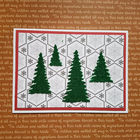 Christmas greeting card set - felt trees
