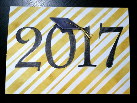 graduation card - 2017 gold stripes