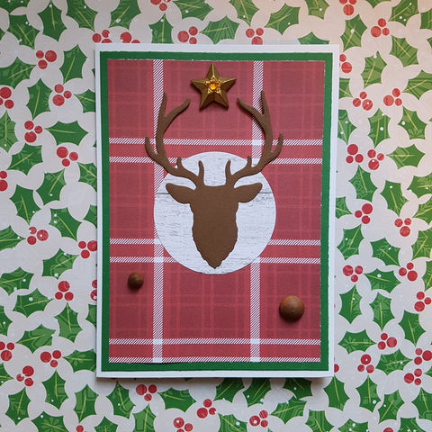 Christmas greeting card - stag plaid
