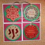 Christmas greeting card set - foil tags
