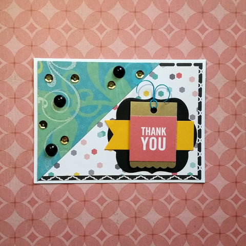 thank you greeting card - bright layers