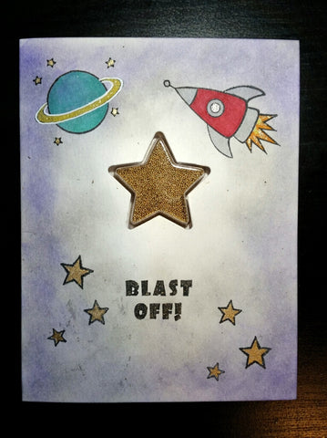 greeting card - blast off shaker