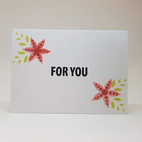 greeting card - red flowers