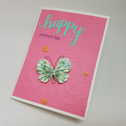 Mother's Day card - pink butterflies